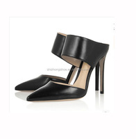 pointed toe genuine leather women high heel strap sandals