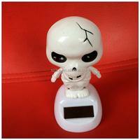 Skull solar blank powered bobble head/12cm solar shaking bobble head/manufacturer solar shaking head design