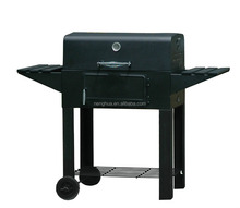 Outdoor charcoal square bbq ,barbecue grill with table wings
