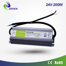 waterproof IP67 transformer 24v power supply 200w constant voltage led driver for outdoor led strips