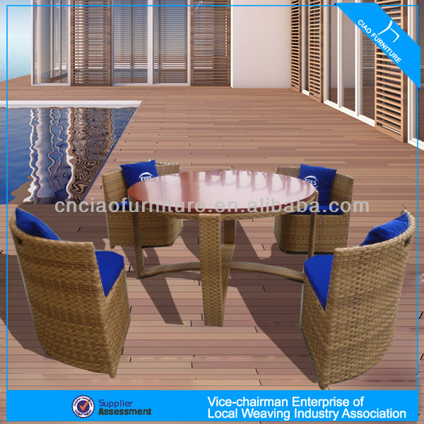 A - rococo style furniture set patio rattan table and chairs CF672
