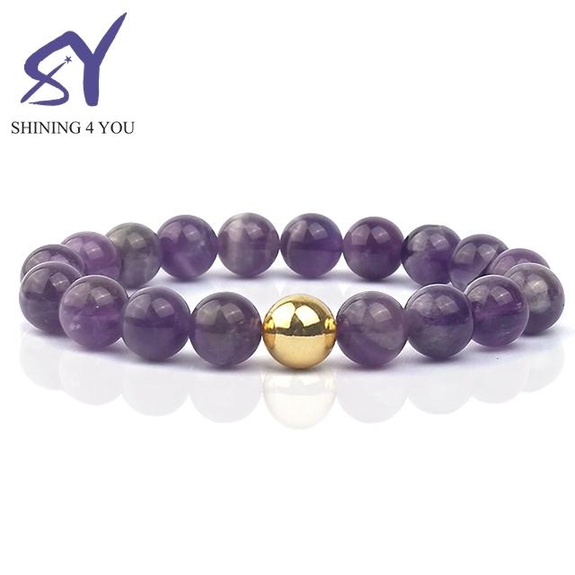 Exquisite and Elegant Gold Bead Purple Beads Bracelet Fashionable Gemstone Jewelry