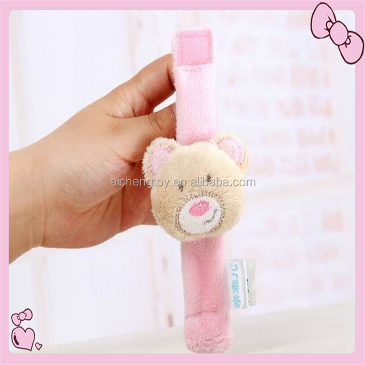Newest animal soft plush wrist wrap baby toys