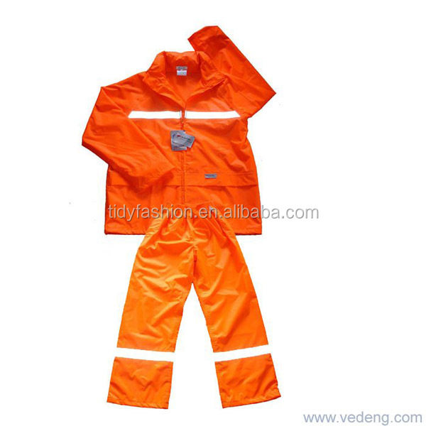 Adult Waterproof Plastic Hooded PVC Reflective Rain Suit