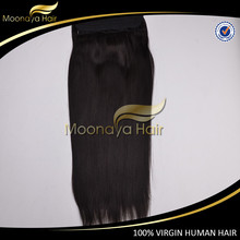 Wholesale factory price flip in human hair cheap halo hair extensions double drawn virgin hair