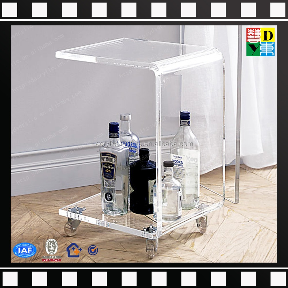 new arrival top quality acrylic serving cart PMMA lucite home use acrylic wine cart transperant acrylic bar cart four wheels