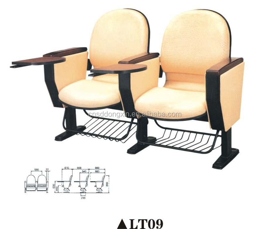 Noble theater auditorium seating folding chair with table top cinema chair LT09