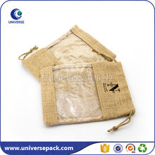 New Design Pvc Window Front Jute Cosmetic Pouch With Drawstring