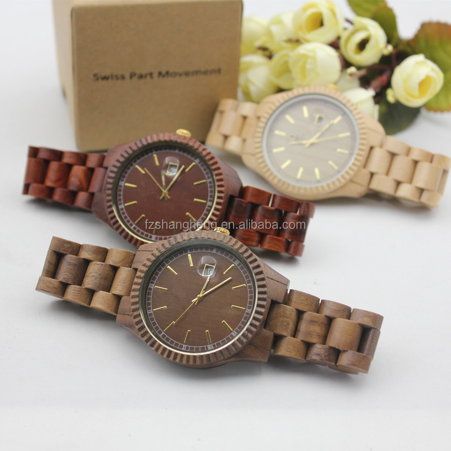 Famous Brand Type Face Sander Wood Watch Logo With Butterfly Clasp