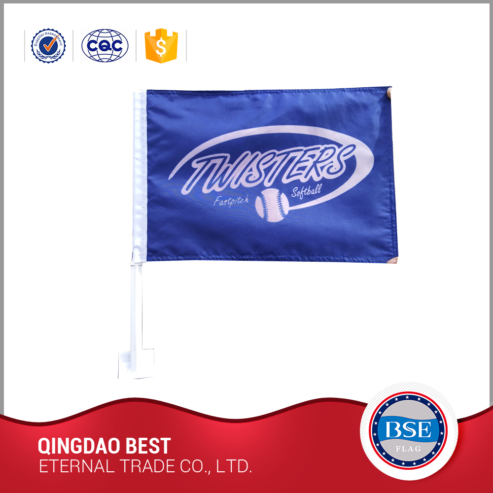 new design print logo cheering pe custom car flag