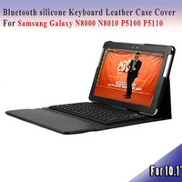3.0 Bluetooth keyboard for samsung galaxy Note 10.1 N8000/N8010/P5100 silicone Keyboard Leather Case Cover silicone case