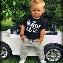 New 2016 Baby Boy clothes 2pcs Short Sleeve T-shirt Tops +Pants Outfit Clothing Set Suit with The Beatles printed