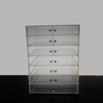 clear acrylic plexiglass makeup storage box for makeup