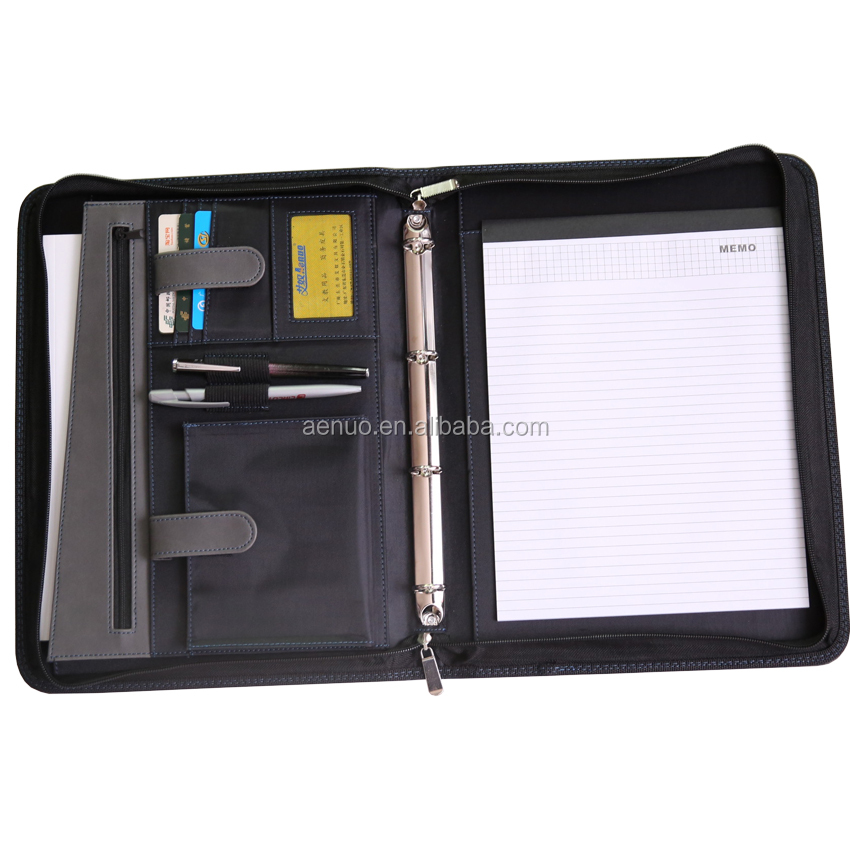 Wholesale Brown PU Zipper Padfolio Custom gift A4 conference document leather presentation file folder