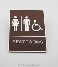 "Braille ADA RESTROOM SIGNS 6""*8"" Tactile SIGNS"