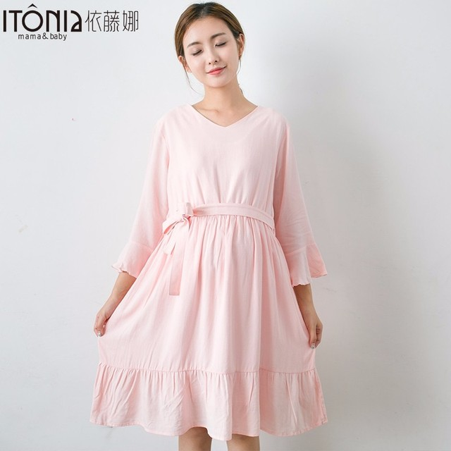 Factory price smooth beautiful breathable tunics babyfeeding nice dresses for pregnant women