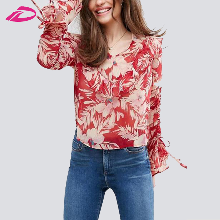New Fashion latest fashion patterns ladies tops printing sleeves designs blouse
