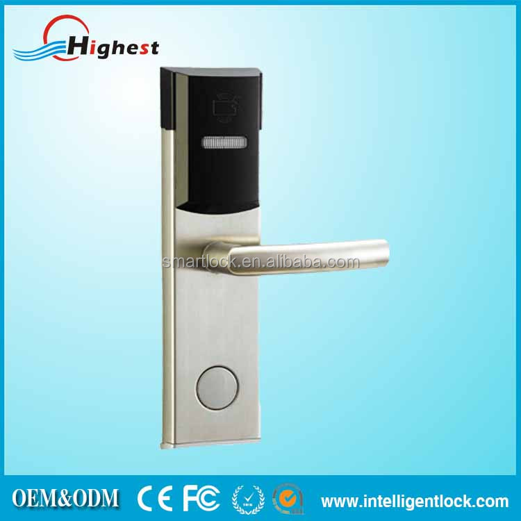 Hot selling hotel door lock operating system with RF card and mechanical key