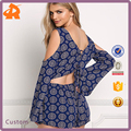 2016 New Design Sexy Navy Gauze Cold Shoulder Cut Out Romper