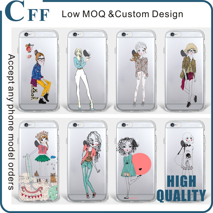For iPhone 6s Plus Case Fashion Dress Shopping Girl Transparent TPU for huawei P9 lite case phone accessories mobile case