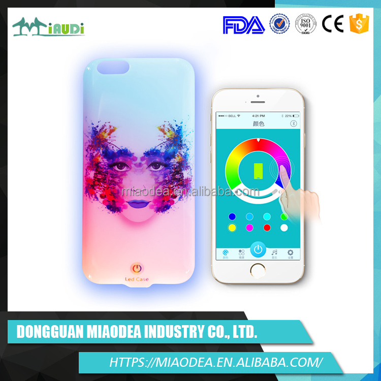 Wholesale custom fashion Christmas gift Bluetooth Color changing led flash cell phone case for iphone 6 6 plus