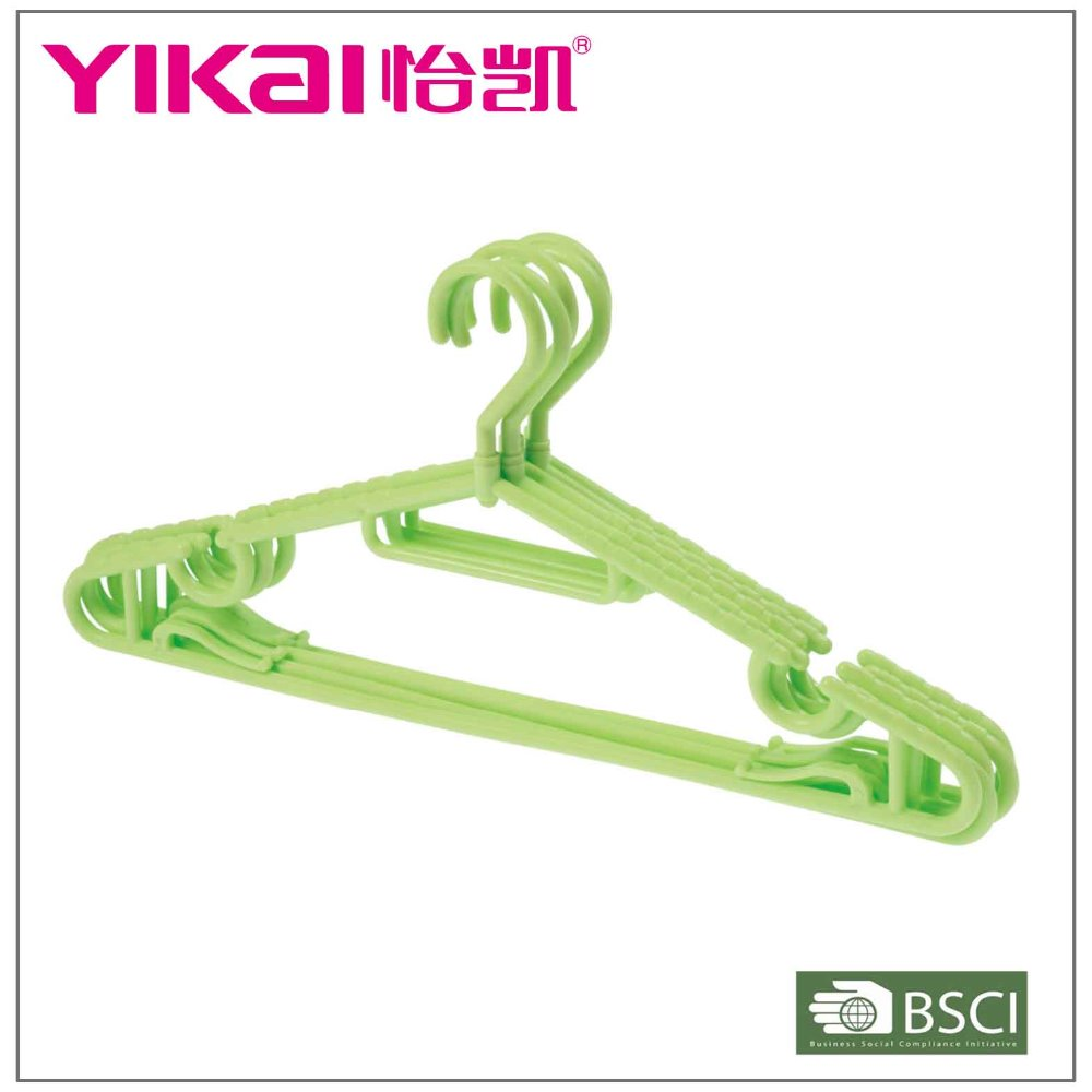Multi-functional light PP plastic clothes hanger with a swivel hook and antislip shoulders