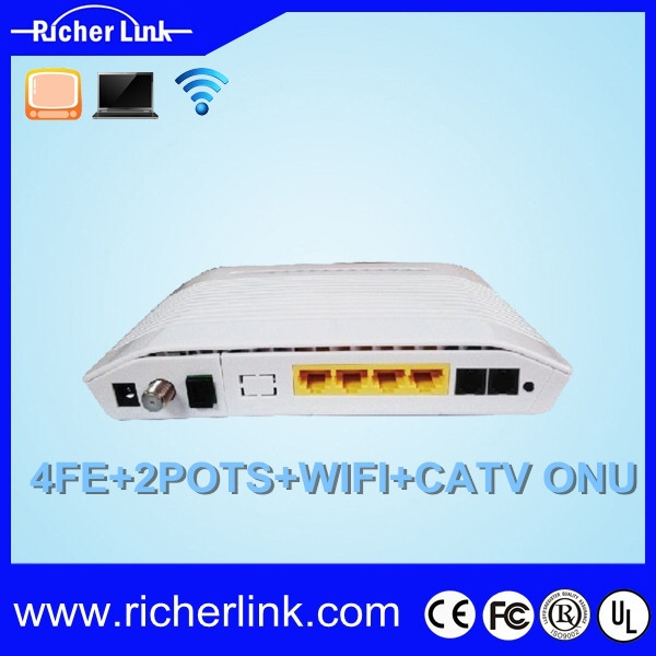 Fiber optical 4GE+2POTS+WiFi+CATV Triple play GPON ONT