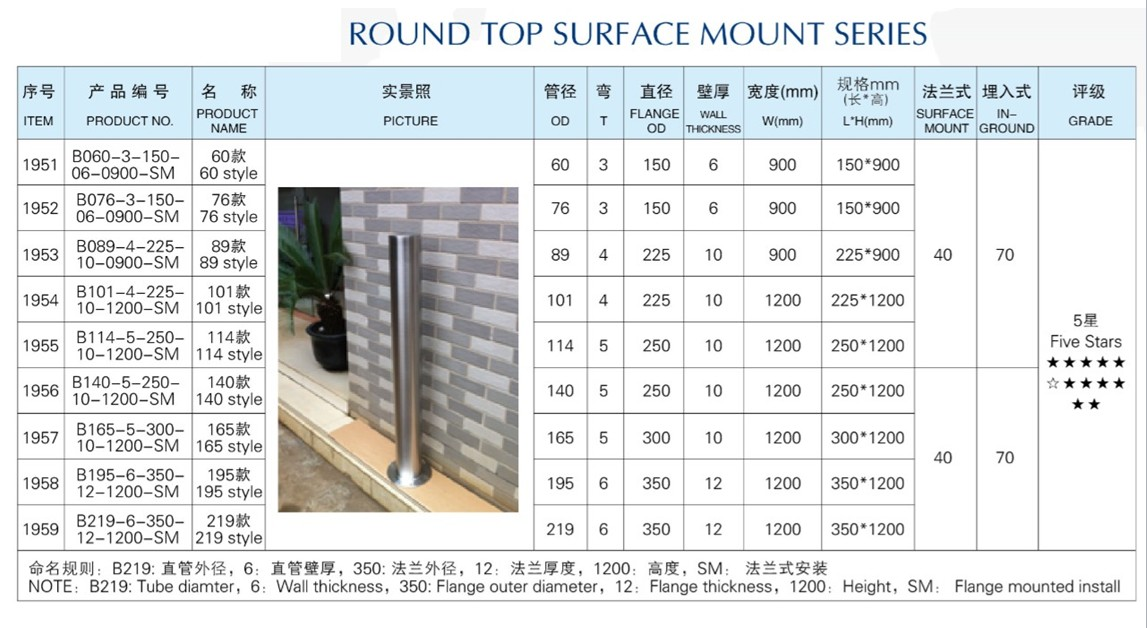 Outdoor in-ground Stainless Steel Security Bollard,Road Traffic Bollard
