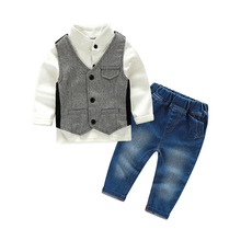 c074 Kids clothing cotton vest shirts pants 3pcs baby boy outfits photos baby boy clothes for wedding party