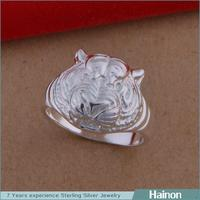 Fashion Wholesale Animal Shaped Unisex Silver Plating Unique Tigar Design Ring