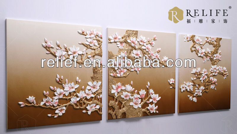 3D relief arts for wall decoration& CANVAS for group vase flowers