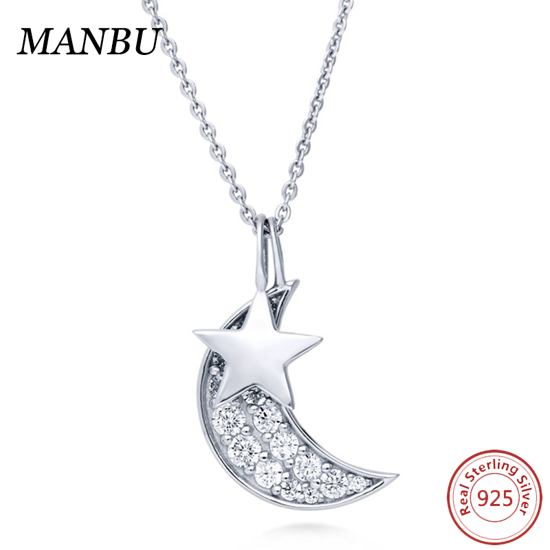 925 sterling silver necklace jewelry Sterling Silver CZ Star Crescent Moon Pendant N1217