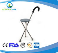 The elderly walking stick with seat chair 3legs crutch