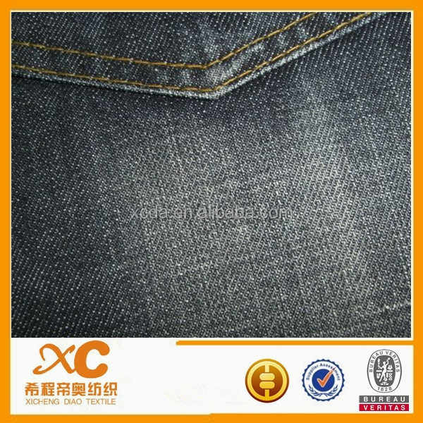 1.65$-1.75$ 11.5oz cotton warp and weft slub denim fabric specification black and blue black