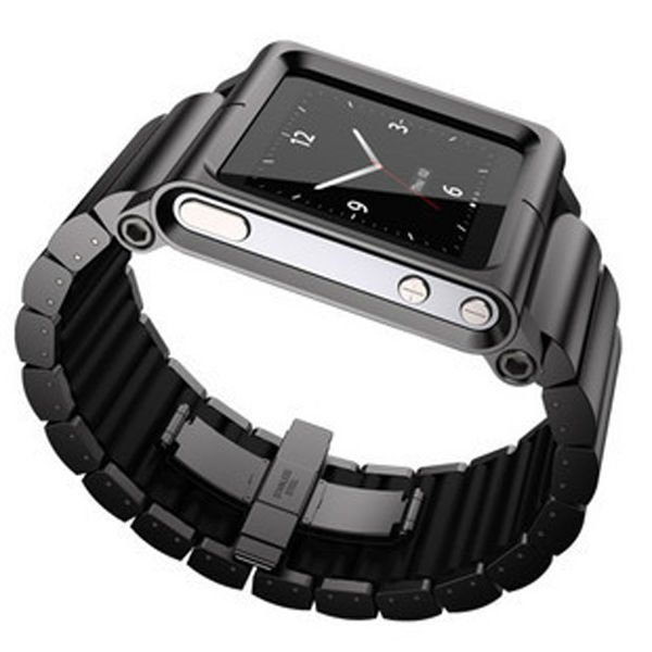 Black metal band watches strap wrist for iphone ipod nano6