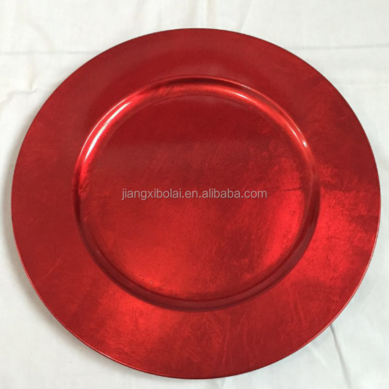 wedding decor gold plastic charger plates wholesale red round charger plate