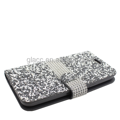Rhinestone wholesale diamond wallet case for iphone 7 , jewelled bling wallet diamond phone case