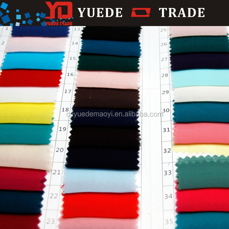 cloth material fabric High quality 100% polyester silk slip 75D Satin chiffon dyeing fabric