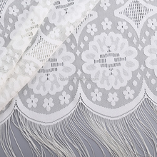 new designs free sample embroidery 3d flower tassel lace fabric usage for sofa cover