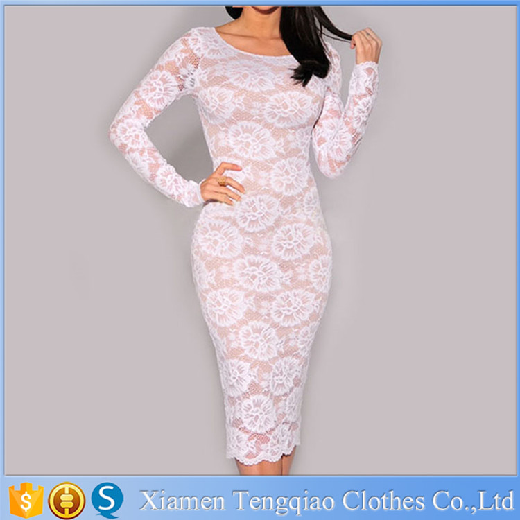 White Woman Floral Lace Nude Illusion Knee Length Evening Dress With Long Sleeves 2015
