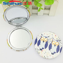 OEM Customized Fashion Plastic Hand Mirror Round Pocket Mirror