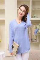Inner Mongolia Ordos Women's 100% cashmere V-neck pullover sweater, pure cashmere sweater