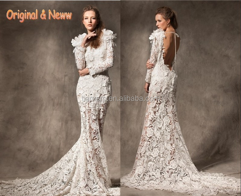 Sexy backless long sleeve alibaba china elegant bridal gowns/real sample open back fishtail designer lace formal evening dresses
