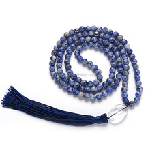 blue-veins gemstone mala beads 108 8mm tassel necklace