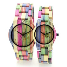 Coloful bamboo couple watch custom logo wooden wrist watch with Japan movt quartz watch