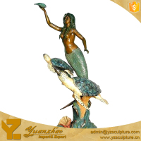 Bronze mermaid with two turtles Family Water Feature for Sale