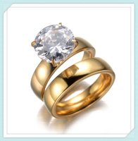 Classic design fashion wholesale gold stainless steel ring set with CZ