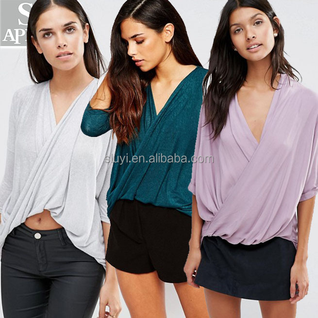 Long sleeves V-neck curve hem cross wrap knit blouse ladies fashion tops for women blank shirts clothes women blouses wholesale