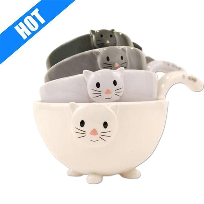 Ceramic Cat Measuring Cups/ Baking Bowls