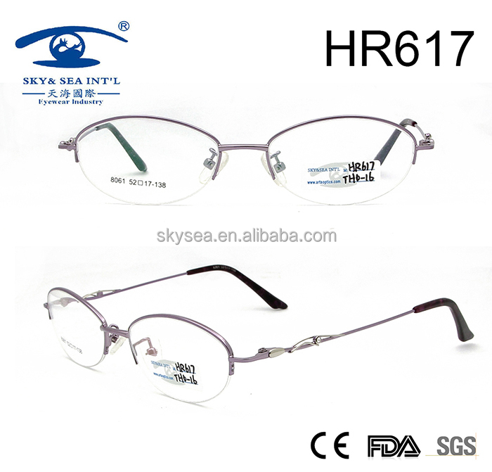 high quality fancy half frame women metal eyewear frame glasses